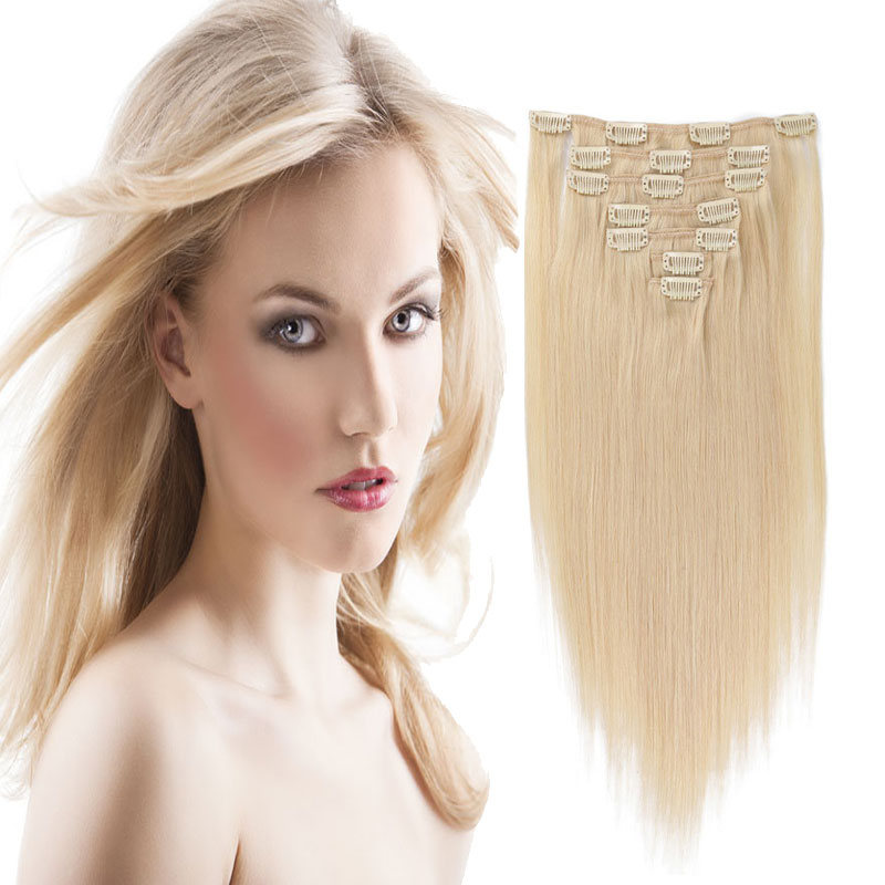 10PCS 120G Bleach Blonde #613 Full Head Clip In Human Hair Extensions Straight 6A Brazilian Virgin Human Hair Clip In Extensions