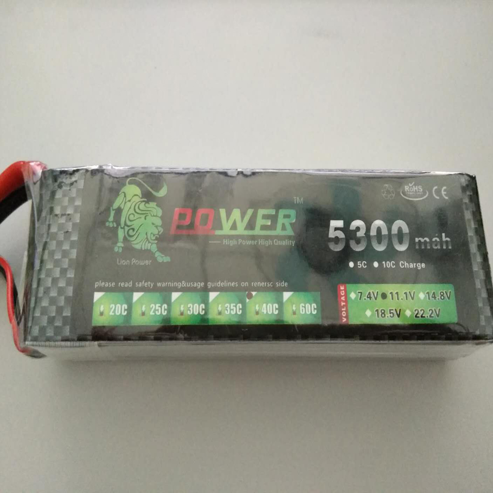 Lion power Li-PO 11.1V 5300MAH 40C high capacity lithium polymer battery for rc heli cars truck R/C model toy free shipping high capacity 14 8v 10400mah lipo battery li poly lithium polymer power 4s 25c akku bateria for rc car heli model
