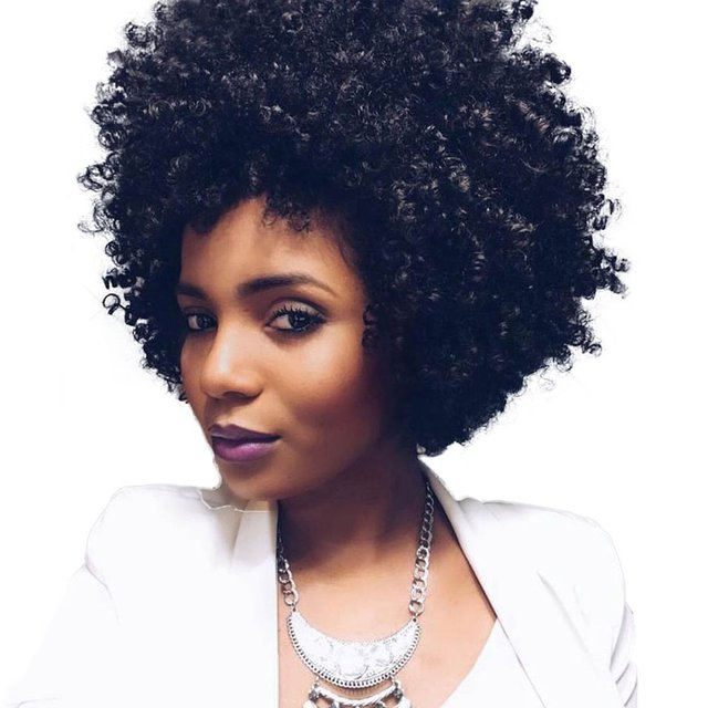 Natural Black Afro Wig Kinky Curly Short Hair Wigs For Black Women Jerry  curl hair Fluffy 9e6fe59c5
