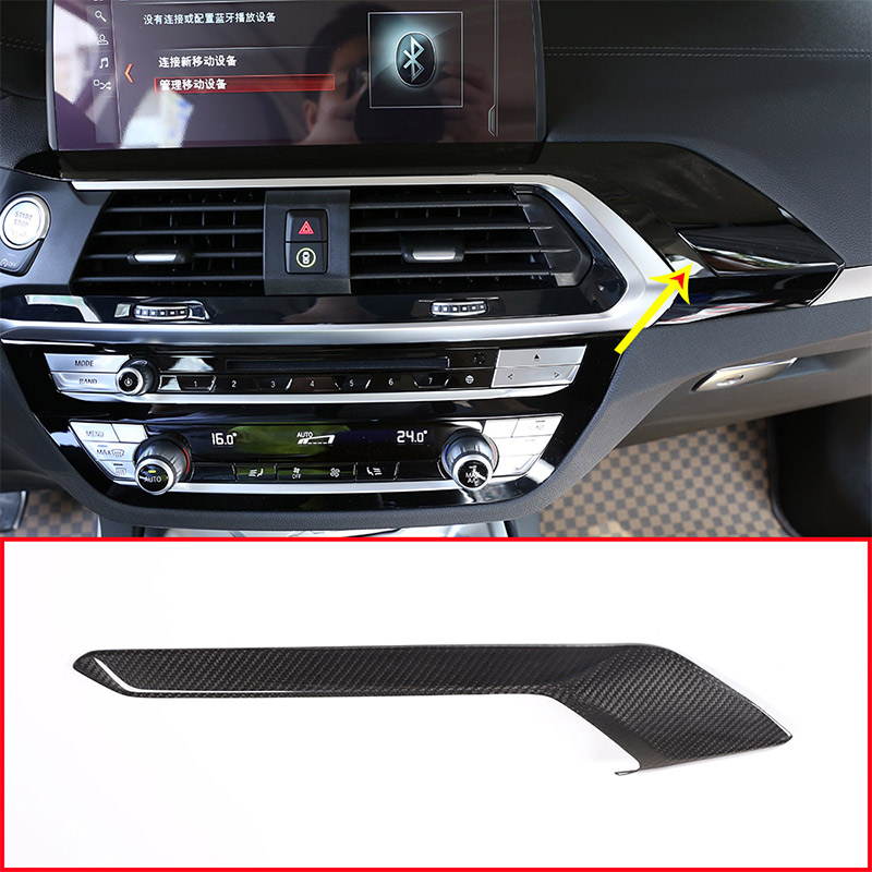 Real Carbon Fiber Car Center Console Decoration Cover Panel Trim For BMW X3 G01 X4 G02 2018 2019 Accessories