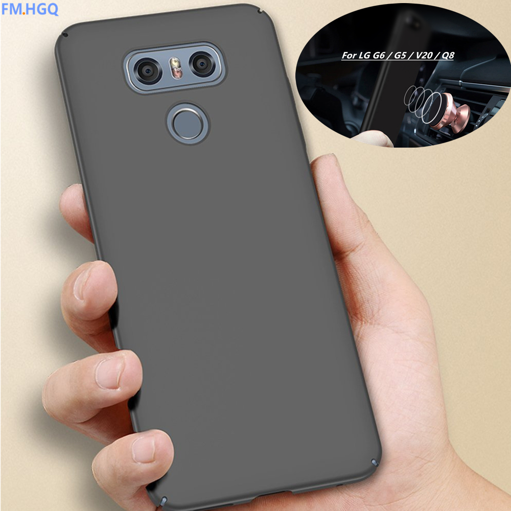 FM.HGQ Magnetic Car Case Hard Back Matte PC plastic Case For LG G6 G5 Case for lg V20 Q8 Case Full Cover Phone Funda Coque