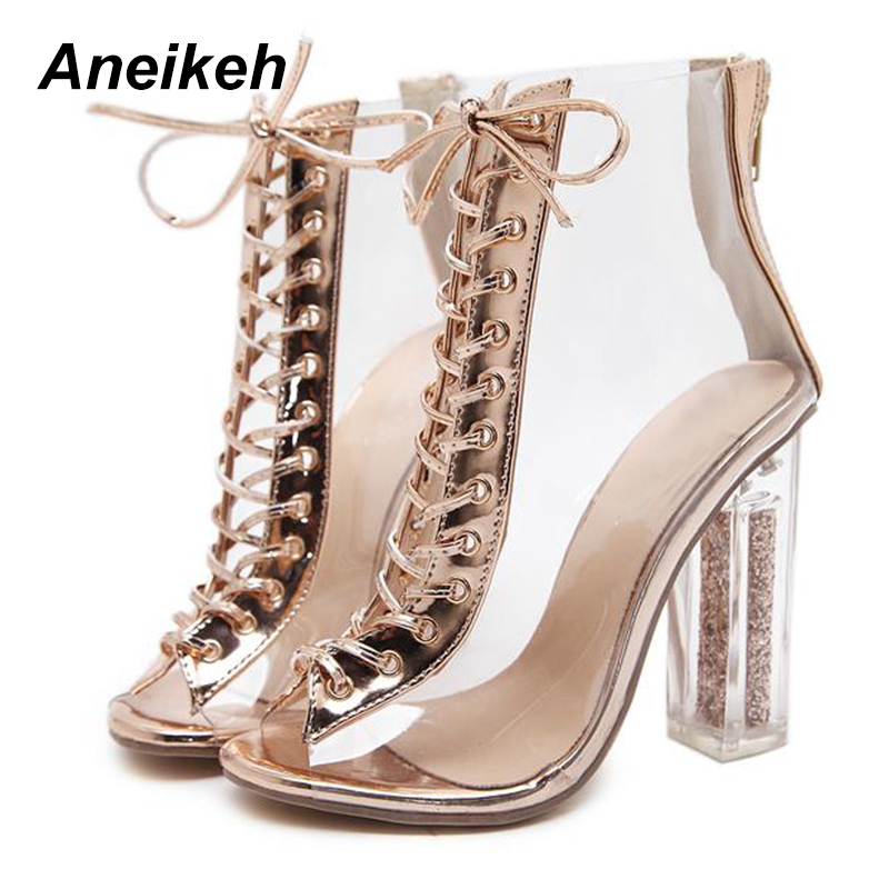 07e8e947dba1 Aneikeh 2018 New Sexy PVC Transparent Gladiator Sandals Peep Toe Shoes  Bling Clear Chunky heels Sandals Boots Size 35 40 -in High Heels from Shoes  on ...