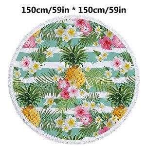 Image 3 - 150cm Picnic Yoga Mat Blanket Carpet 500g Microfiber Microfiber Flamingo Printed Round Tassel Beach Towel