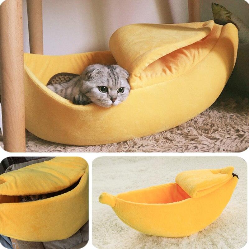Banana Katze Bett Haus Cozy Nette Banana Welpen Kissen Kennel Warm Tragbare Haustier Korb Liefert Matte Betten für Katzen & kätzchen