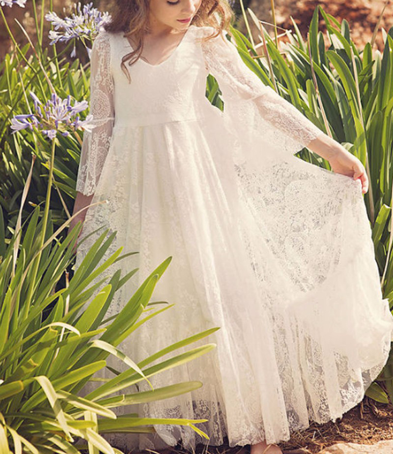 Ivory 3/4 Long Sleeves Lace   Flower     Girl     Dress   Scoop Kids Long Skirt For Wedding Party Prom Evening Gowns First Communion   Dresses