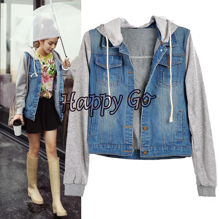 Korean Style Winter Jacket Women Vintage Jeans Jacket Denim Hooded