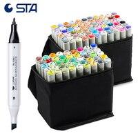STA 6801 спирта Двойной Профессиональный Фломастеры для рисования 168 Блестящий Цвета граффити рисунок ручки twin эскиз Manga/Архитектура маркер
