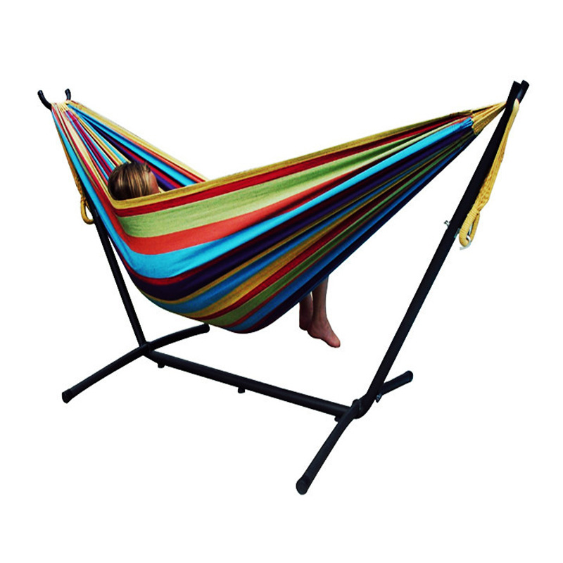 new arrival colorful strips black stand hammocks garden swing wonderful camping hammocks practical high quality
