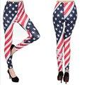 New 2016 Spring-Autumn Women Fashion Slim Leggings Print American Flag Fitness High Elastic Women Clothing Punk Rock Pants 1743