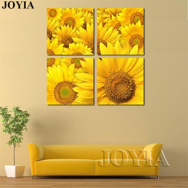 Modern Art Canvas Painting Set 4 Piece Yellow Sunflower Decorative ...