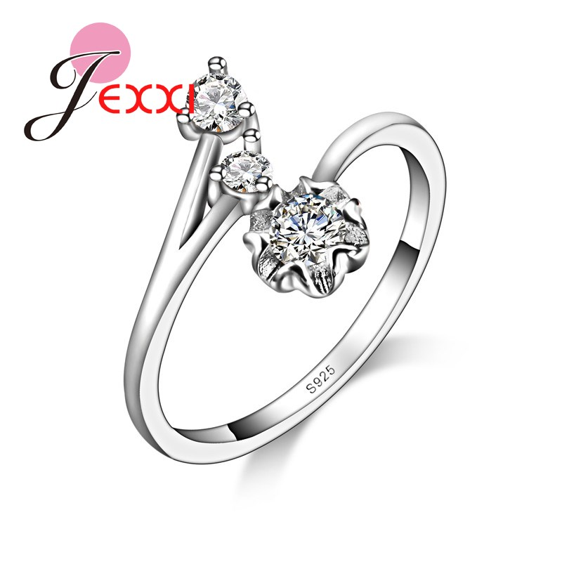 JEXXI Fashion Creative Special Design Wedding Party Club Rings For Women 925 Silver Quality Shiny Zircon Crystal Jewelry
