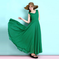2017 Summer New Fashion Woman Sleeveless Chiffon Dress Blackish Green Elegant Ultra Long Dress Solid Color
