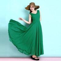 2017 Summer New Fashion Woman Sleeveless Chiffon Dress Blackish Green Elegant Ultra Long Dress Solid Color