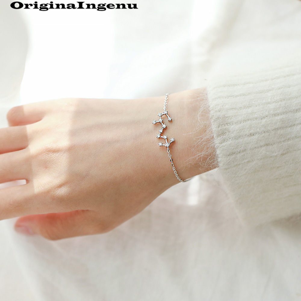 Constellation Bracelets 925 Sterling Silver Jewelry Simple Creative Birthday Gift Charms Vintage Indian Jewelry Bangle Boho