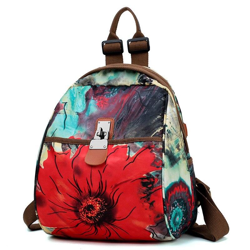 Frais nationalité femmes sacs à dos impression florale bibliothèques Oxford voyage sac à dos cartable pour filles sac à dos mochila feminina