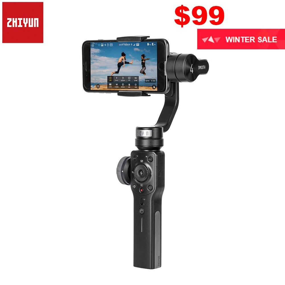 Zhiyun Suave 3-Eixo Smartphones Handheld Cardan Estabilizador para iPhone 4 XS XR X 8 Plus 8 7 Plus 7 Samsung S9 S8 S7 & Action Camera