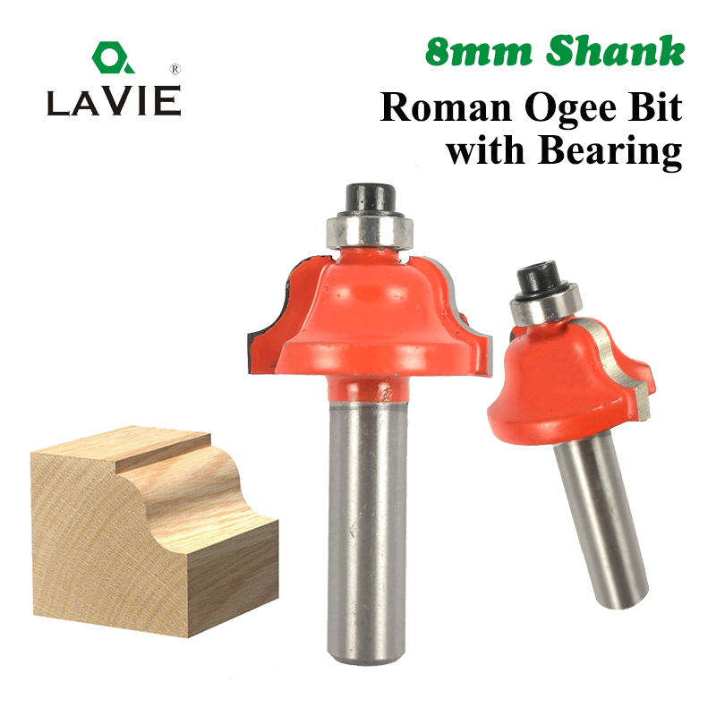 LA VIE 1pc 8mm Shank Roman Ogee Bit With Bearing Double Edging Router Bit Milling Cutter For Wood Woodworking Tool MC02024