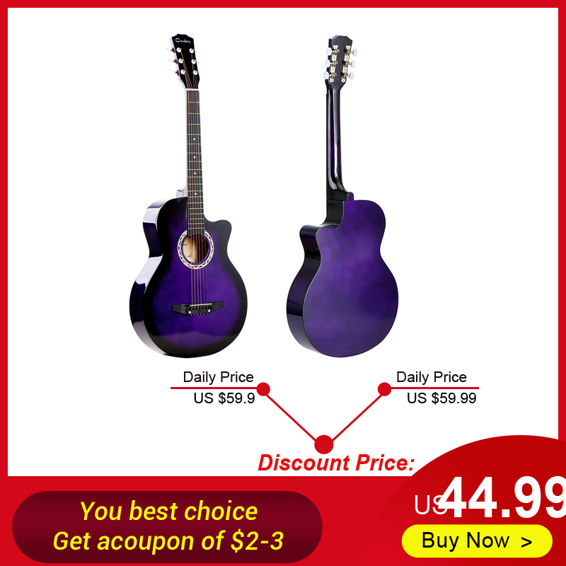 "High Quality 38"" Acoustic Guitar 6 Strings Folk Guitar for Beginners Students Gift 4 Colors Optional(China)"