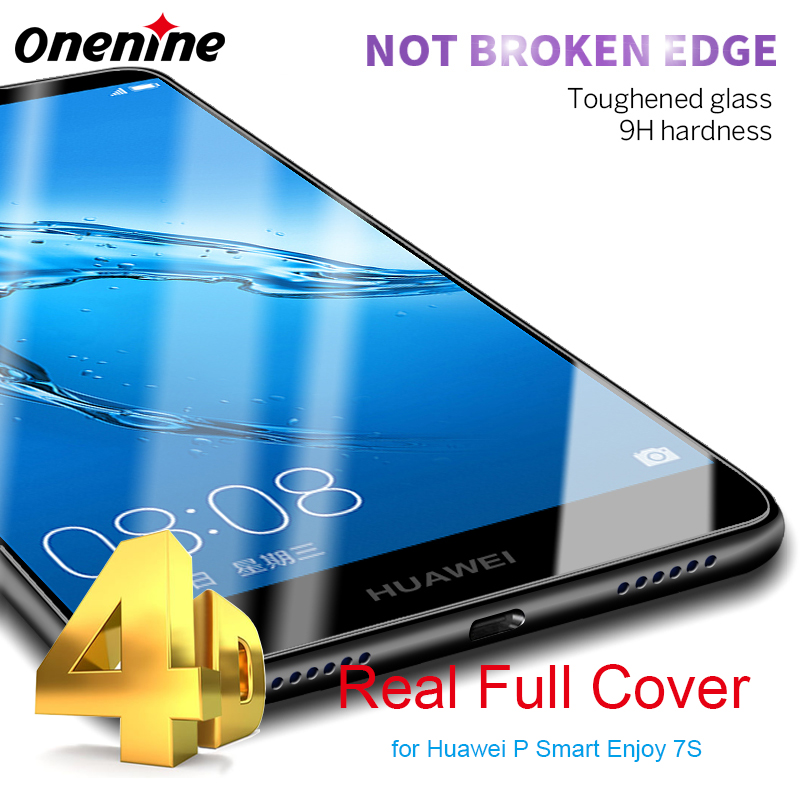 4D Full <font><b>Cover</b></font> Screen Protector for Huawei P <font><b>Smart</b></font> Tempered Glass Film 9H 3D Curved Protective Enjoy 7S PSmart FIG-AL00 5.65 inch
