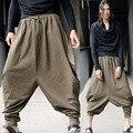 Мужская Винтаж Зеленый Хиппи Boho Aladdin Шаровары Широкую ногу Ниндзя Брюки Брюки Хлопок Случайных Непал Мужские Полная Длина Брюки