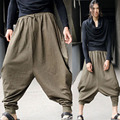 Men's Vintage Green Hippy Boho Aladdin Harem Wide leg Ninja Pants Trousers Cotton Casual Nepal Mens Full Length Pants
