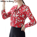Vermelho Coreano Floral Elegante Mulheres Blusa Senhora Camisa de Manga Longa Gola Laço Formal OL Doce Chiffon Feminino Flor Top T6O2027H