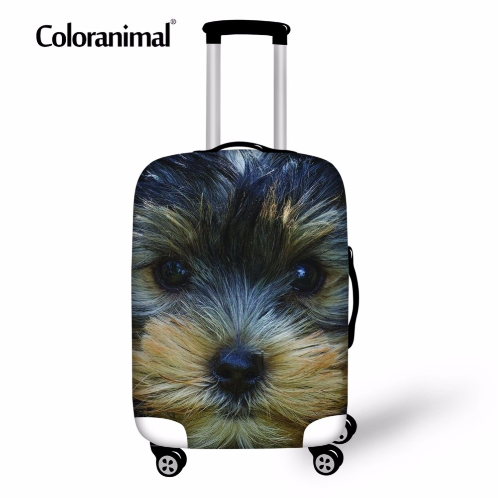 Coloranimal Suitcase Trolley Dust Elastic Cover With Zipper Cute Yorkshire Terrier Pattern Protect Luggage Cover For 18-30 Inch