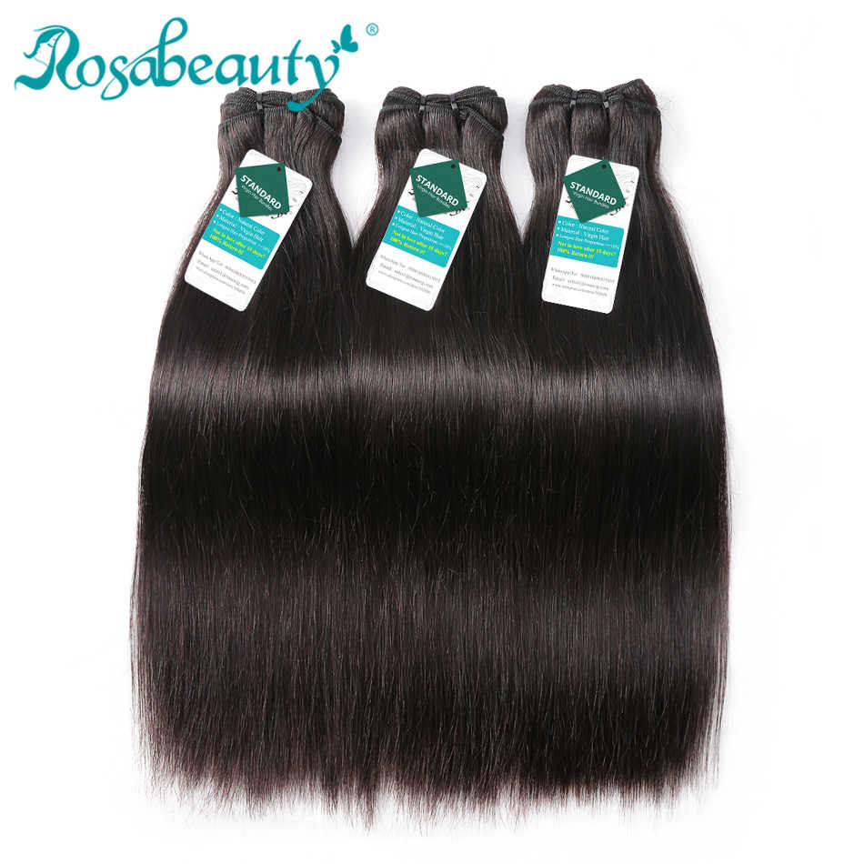 Rosabeauty Grade 9A Raw Indian Straight Virgin Hair Weave Bundles Silky Straight 100% Indian Human Hair Extension 10-24 Inch