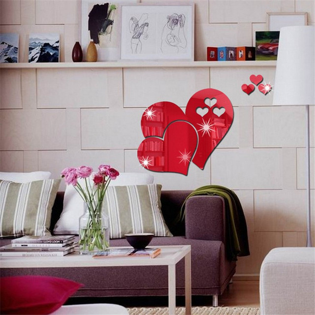 3D mirror Love Hearts wall stickers for bedroom living room shopping mall wedding DIY stickers home art Mural Decor Removable