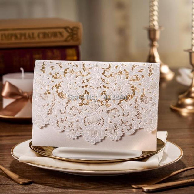 Wishmade Wedding Invitation Cards With Embossing And Laser Cut Details Cw073