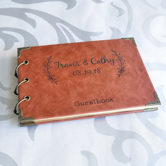 Personalized Engraved Leather Wedding Guest Book Custom Advice Bridal Shower Gift