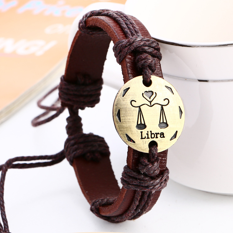 Fashionable Bronze Alloy Buckles Zodiac Signs Bracelet Punk Leather constellation Bracelet Black Hematite Lover Charm Jewelry in Charm Bracelets from Jewelry Accessories