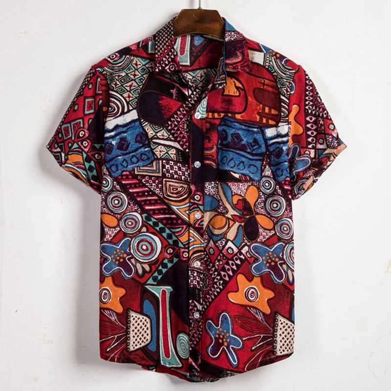 Litthing メンズビーチハワイシャツ熱帯夏半袖シャツ男性シャツカジュアルルースコットンボタンダウンシャツプラスサイズ