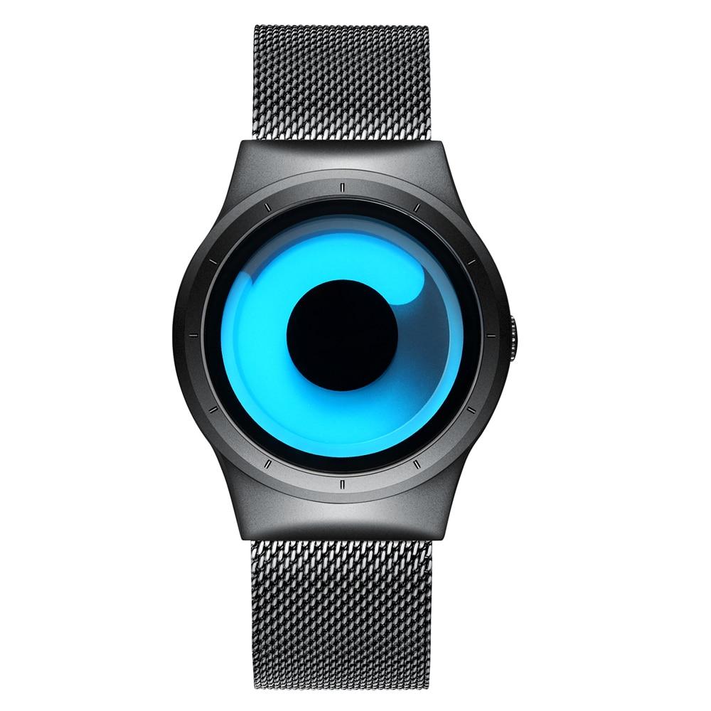 2018 Mænds nye kreative Rotary Quartz-ure Rustfrit stål Mesh Mænd - Mænds ure - Foto 2