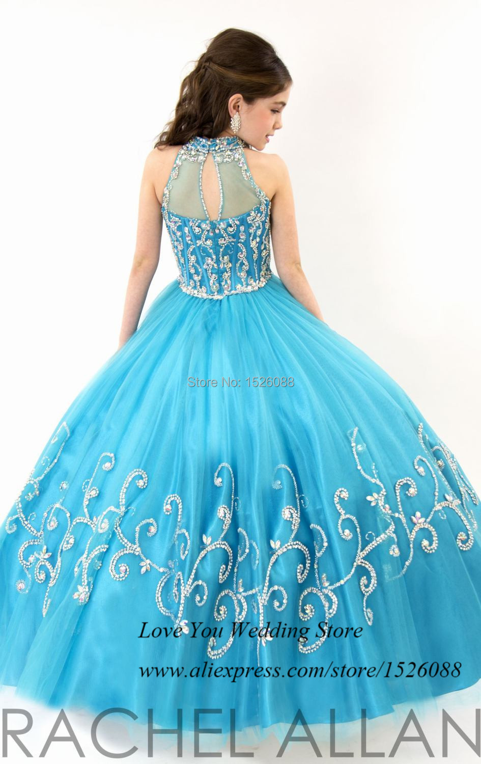 Princess Blue Modest Ball Gown Flower Girl Dresses for Weddings 2015 ...