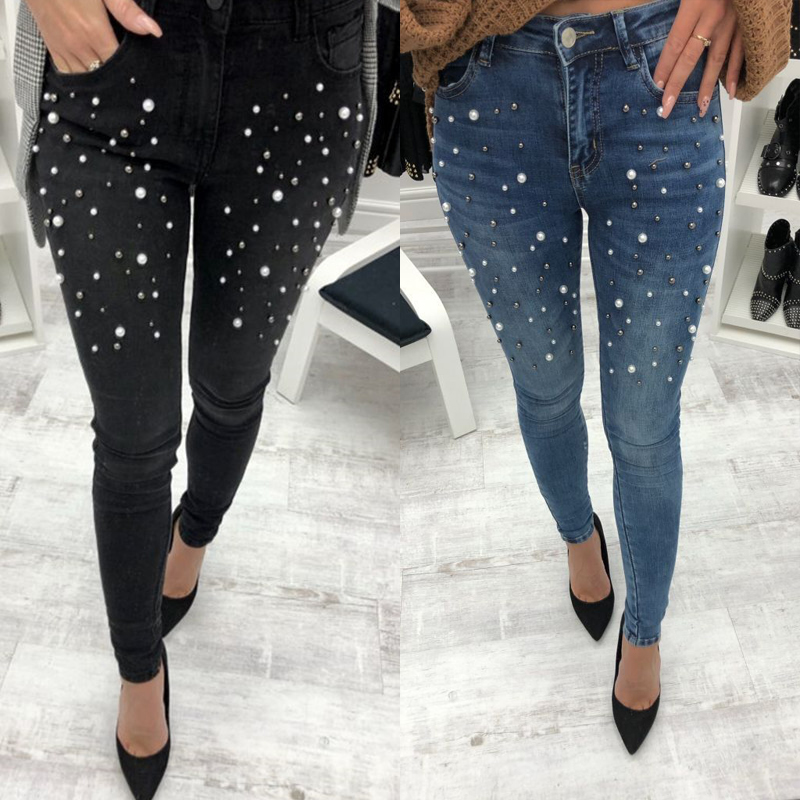 2Color Denim Pencil Pants Ladies Casual Slim Fit Rivet Pearl   Jeans   2019 Summer Long Trousers For Women