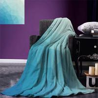 Teal and White Throw Ombre Inspired Pattern with Low Poly Effect Triangles Fractal Mosaic Warm Microfiber Blanket