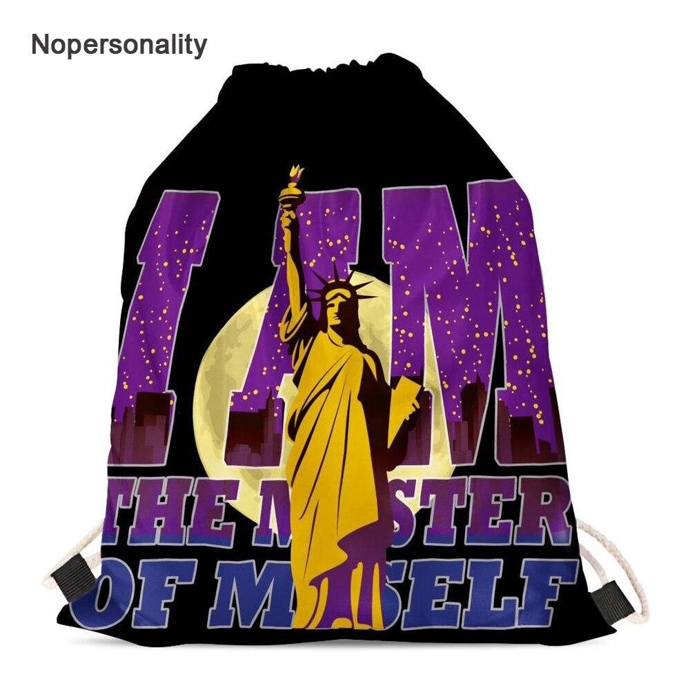 Nopersonality Brand Statue of Liberty Print Drawstring Bag Portable Travel Storage Bag for Women Casual Men