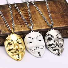 V for Vendetta Necklace metal Chain Collar Figure face mask Pendant Fashion Movie necklace For men 3 color