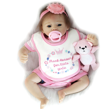 Classic Cute 20 Inch Reborn Baby Girl Rooted Mohair Realsitic Newborn Silicone Doll Lifelike Girl Toy Kids Birthday Xmas Gift