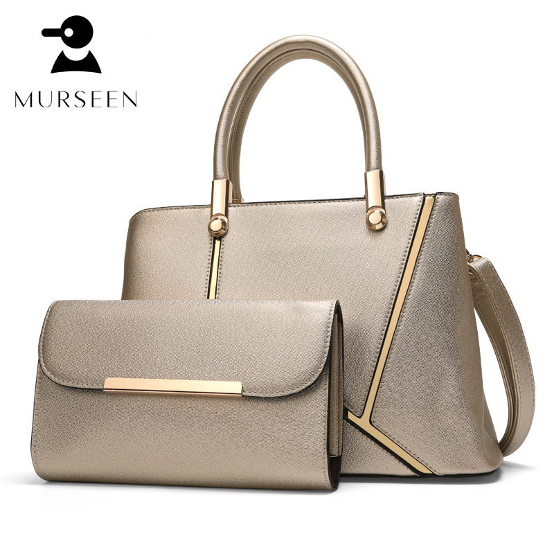Women leather handbags set 2018 luxury brand designer lady shoulder bags Female purses Composite Bag high quality Messenger bag luxury brand design basket bucket tote women day clutches and purses 2pcs composite bag lady handbags rivet women messenger bag