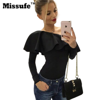 Missufe White Black Elegant Ruffle Blouse 2016 Autumn Long Sleeve Party Shirts Sexy Off Shoulder Casual