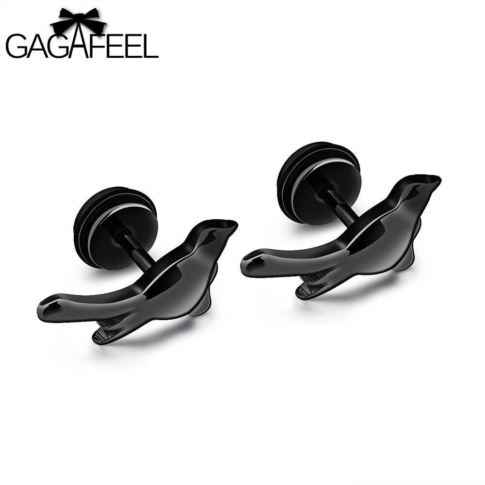 GAGAFEEL Women Men Earrings Stud Earring Peace Dove Vintage Jewelry Stainless Steel Silver Black Best Gift To Male Father Friend