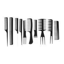 10 unids salón Peines set negro plástico barberos Utensilios para el pelo barberos Peines set peluquería styling profesional Peines