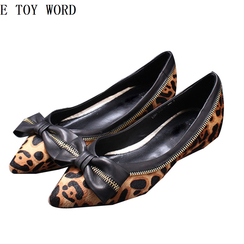 The new spring and summer European 2018 flat shoes horsehair flat pointed leopard shoes lighter bows for womens shoes