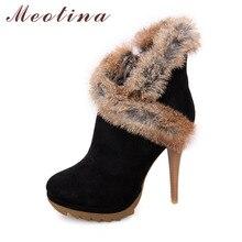 Meotina/Туфли женские сапоги зимние сапоги на платформе и высоком каблуке Дамская обувь пикантные ботильоны на шпильках обувь с мехом кролика черный зеленый