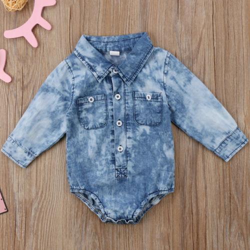 New Fashion Infant Newborn Baby Boy Girl  Clothes Denim  Long Sleeve Bodysuit Pocket Button  Jumpsuit Clothes Outfits