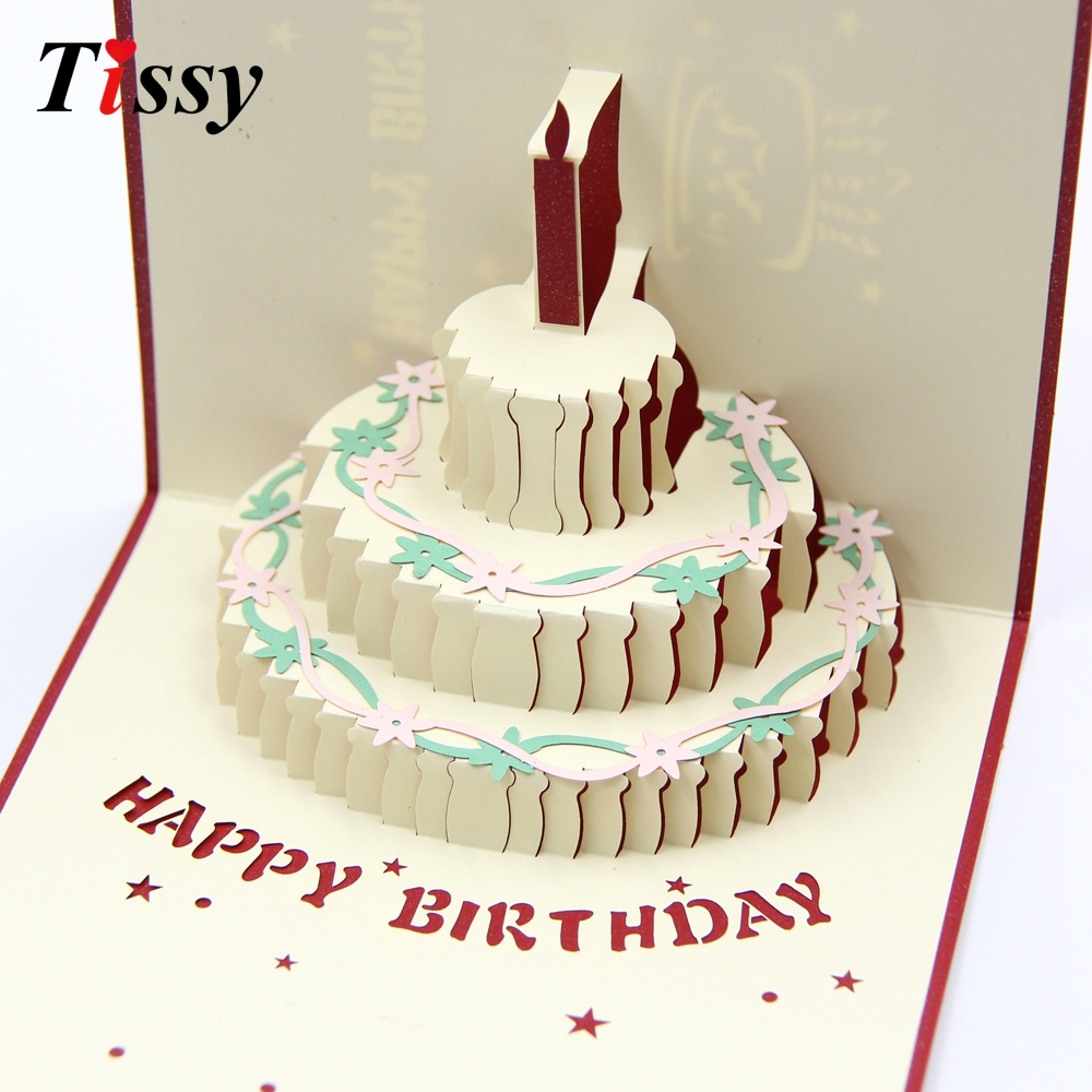 1PC 3D Happy Birthday Cards Birthday Cake Laser Cut