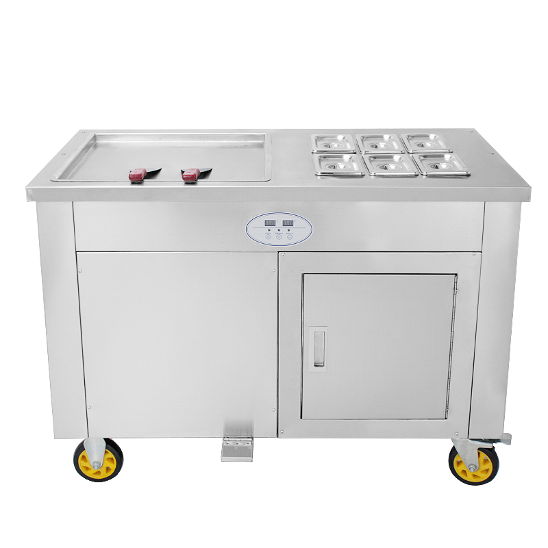 single square pan fried fry frying ice cream roll machine 18 ce 70cm single pan with 5 cooling buckets fried ice cream roll machine thai ice pan machine ice slush machine for sale