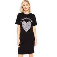 HAOYOUDUO2016 Summer New Europe Street Stamp T Shirt Loose Dress Heart Shaped Letters